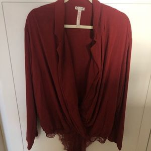 Free People Body Suit NEW Dark Red Size L